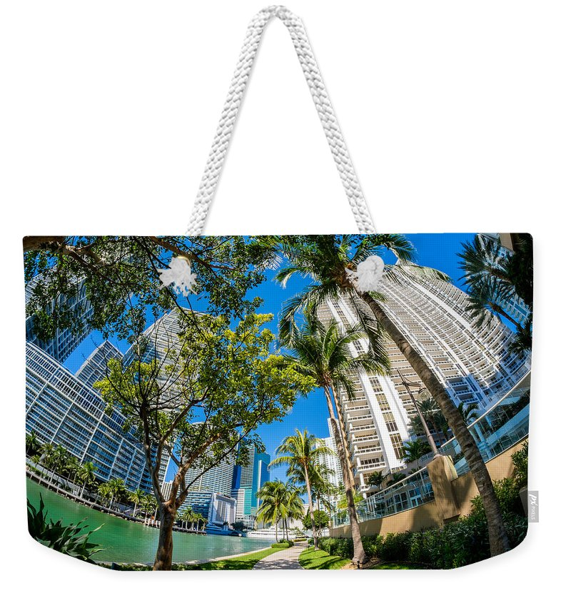 Architecture Weekender Tote Bag featuring the photograph Downtown Miami Brickell Fisheye by Raul Rodriguez