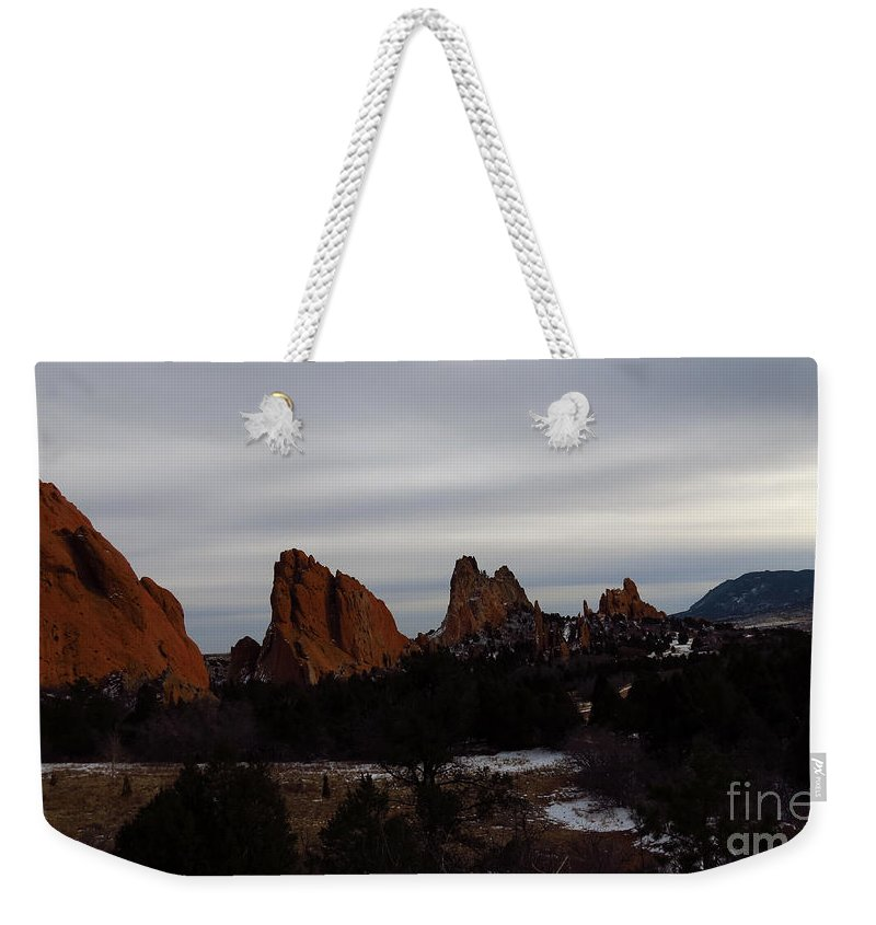 Colorado Weekender Tote Bag featuring the photograph Garden Of The Gods by Elizabeth Harshman