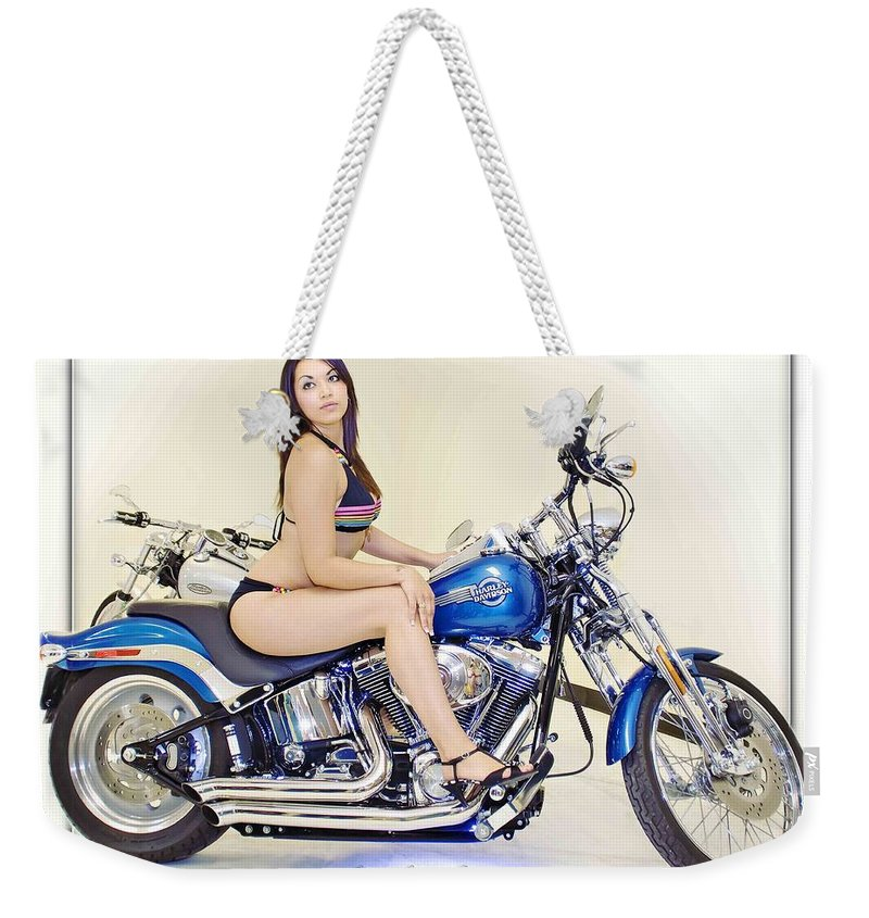 Models & Motorcycles Weekender Tote Bag featuring the photograph Models And Motorcycles by Walter Herrit