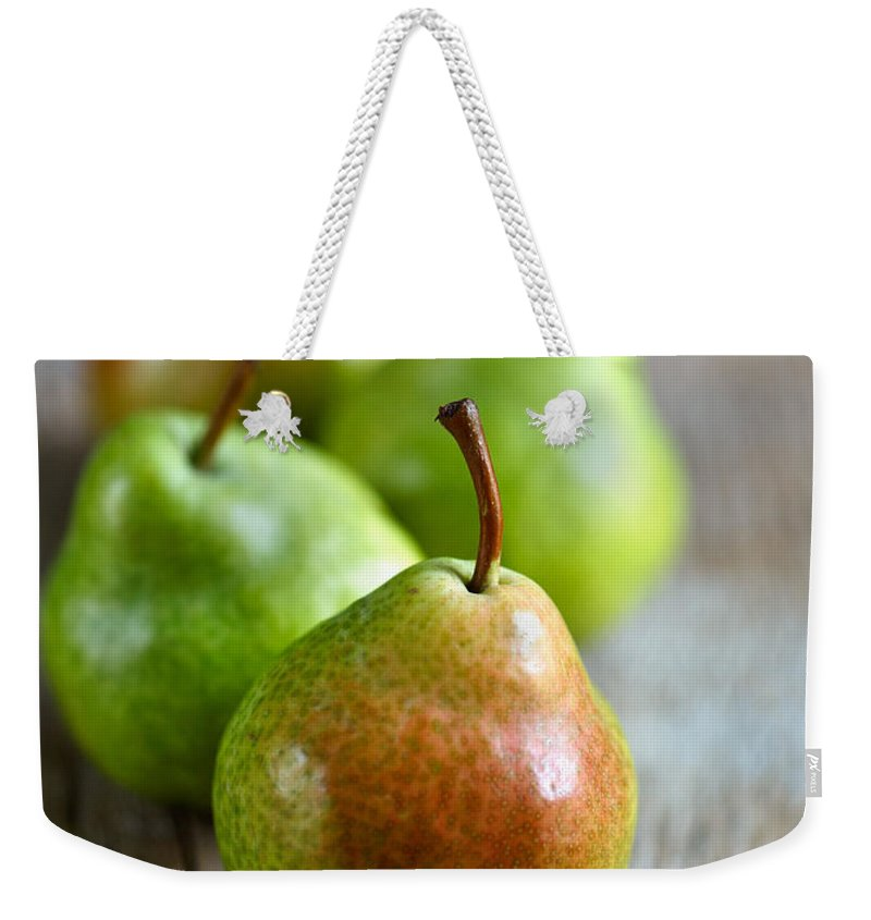 Pear Weekender Tote Bag featuring the photograph Pears 7 by Nailia Schwarz