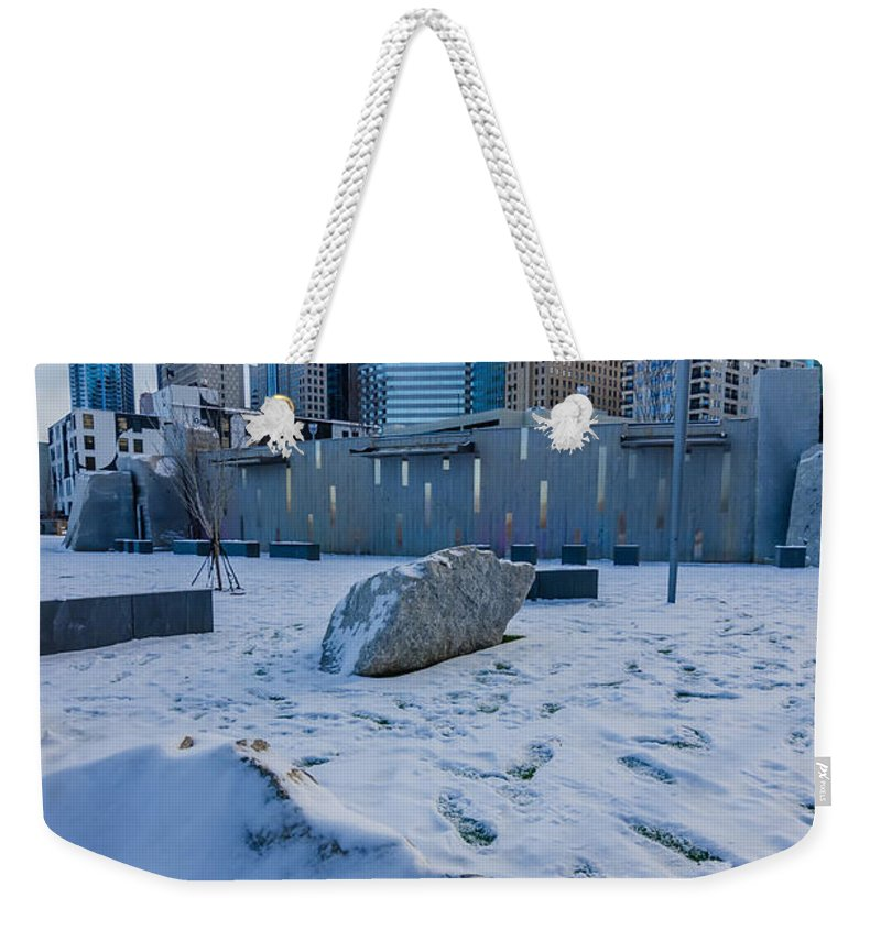 Rare Weekender Tote Bag featuring the photograph Rare Winter Scenery Around Charlotte North Carolina by Alex Grichenko