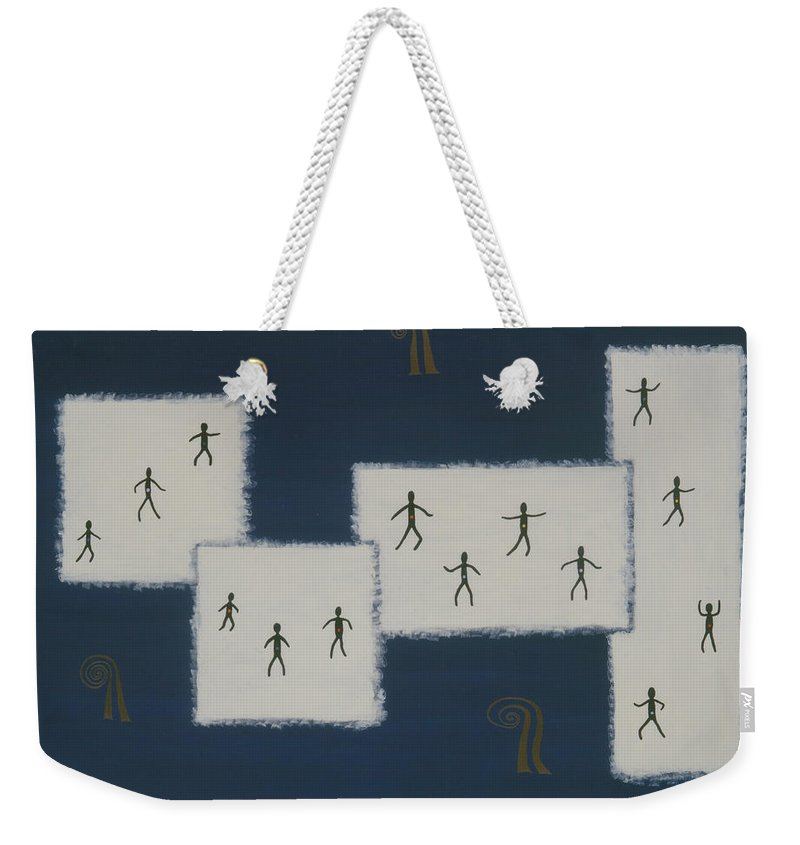 Universal Consciousness Weekender Tote Bag featuring the painting 7 Ray World Dance by Elle Nicolai
