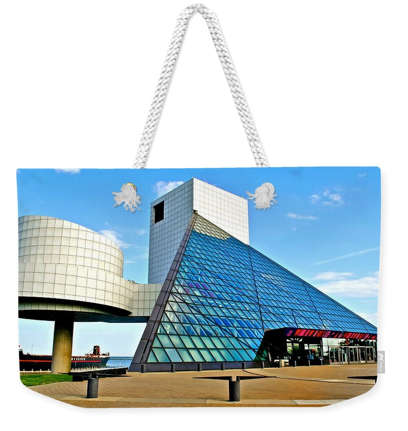 Rock Weekender Tote Bag featuring the photograph Rock and Roll Hall of Fame by Frozen in Time Fine Art Photography