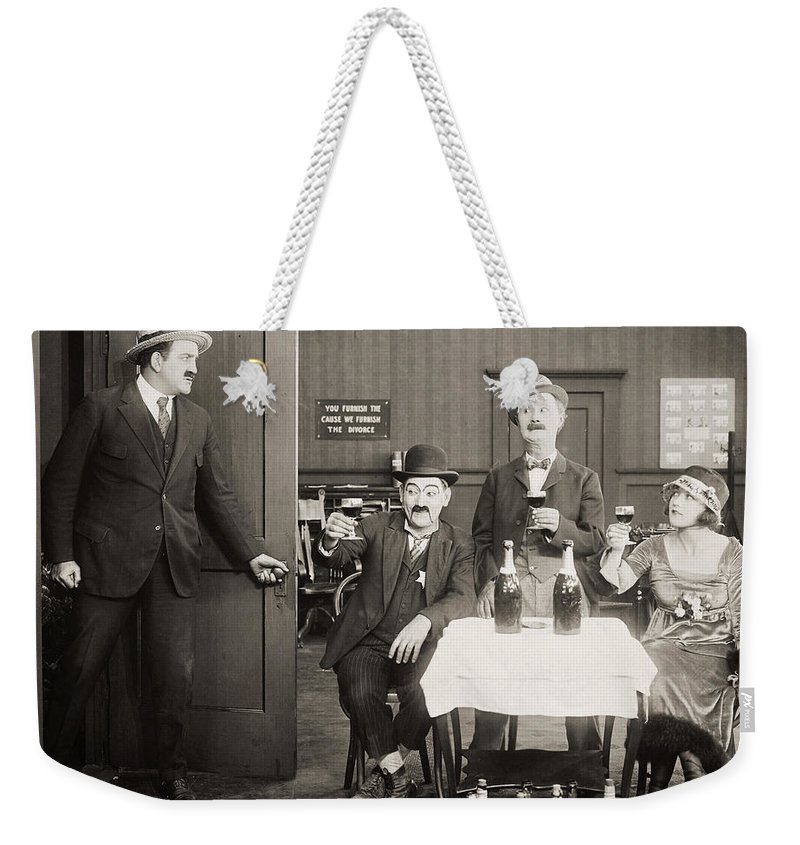 1920s Weekender Tote Bag featuring the photograph Silent Film Still: Drinking by Granger