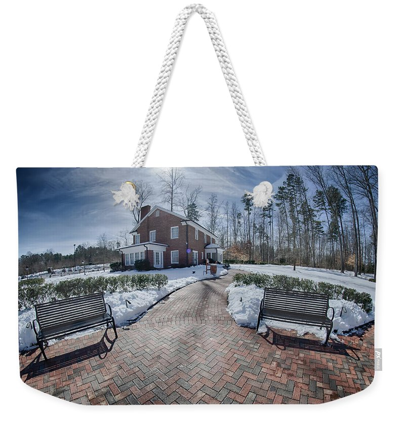 Snow Weekender Tote Bag featuring the photograph Snow Around Billy Graham Library After Winter Storm by Alex Grichenko