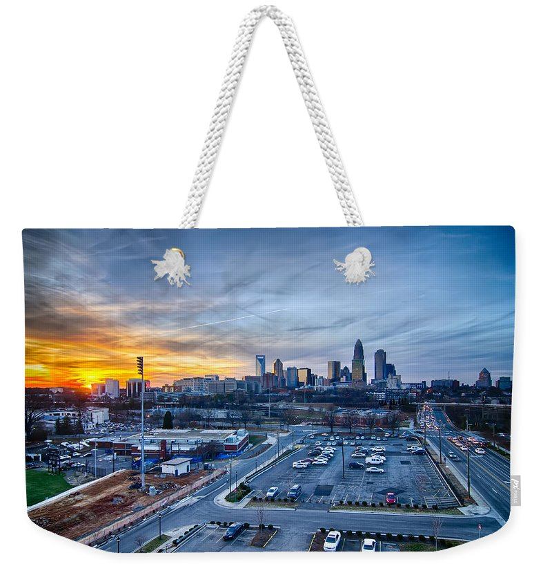 Sunset Weekender Tote Bag featuring the photograph Charlotte Downtown At Night by Alex Grichenko