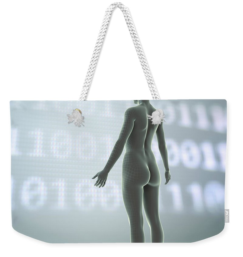 3d Visualisation Weekender Tote Bag featuring the photograph Digital Being by Science Picture Co
