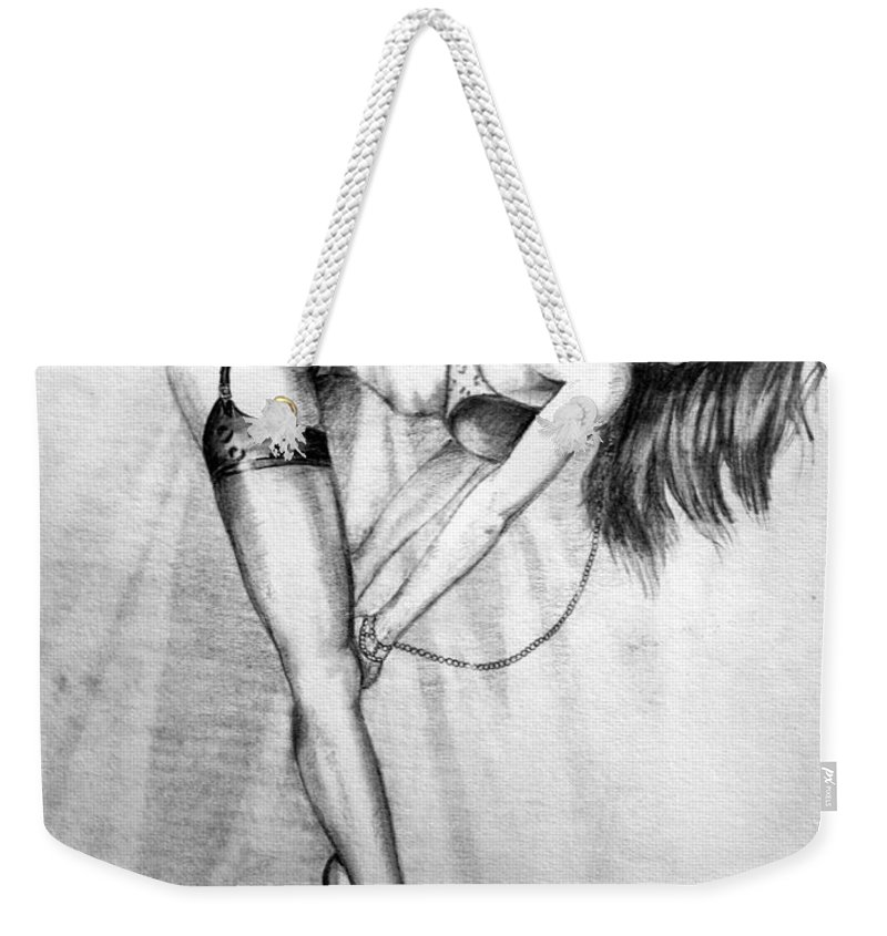 Model Weekender Tote Bag featuring the drawing Model by Alban Dizdari