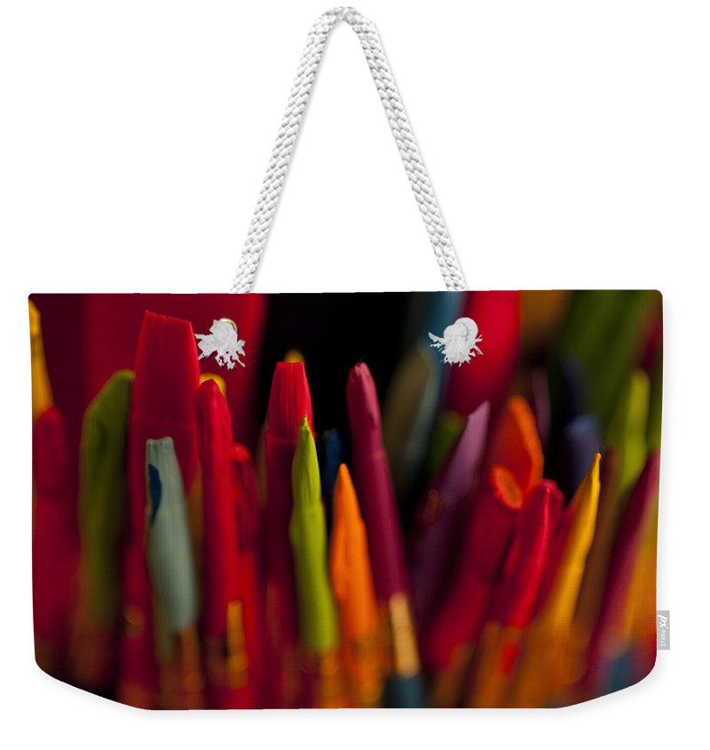Art Weekender Tote Bag featuring the photograph Multi Colored Paint Brushes by Jim Corwin
