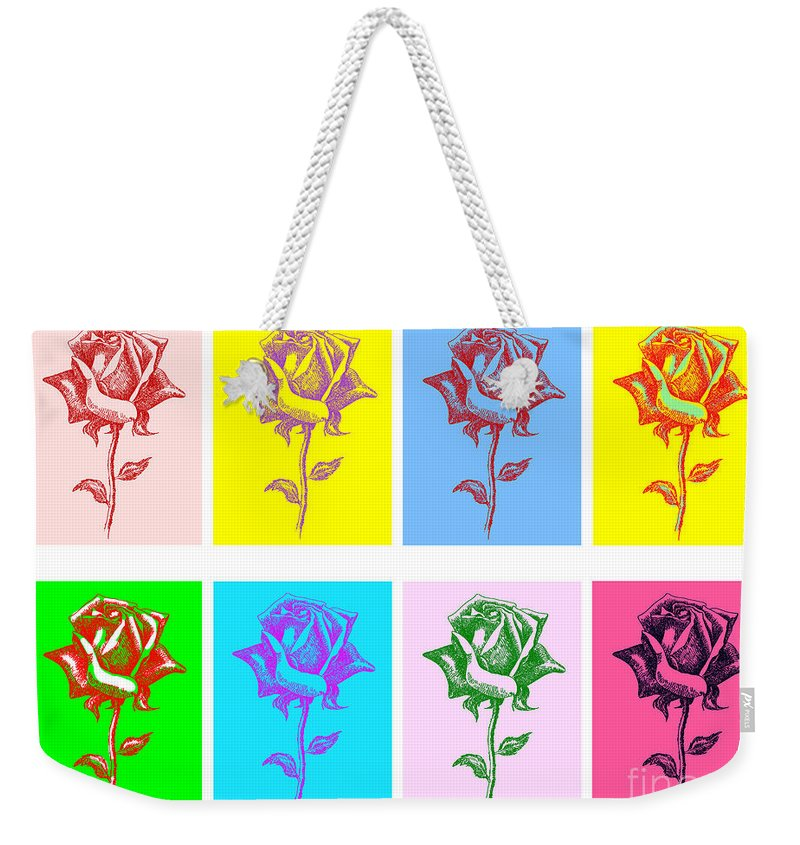 Black Weekender Tote Bag featuring the painting 8 Warhol Roses By Punt by Gordon Punt