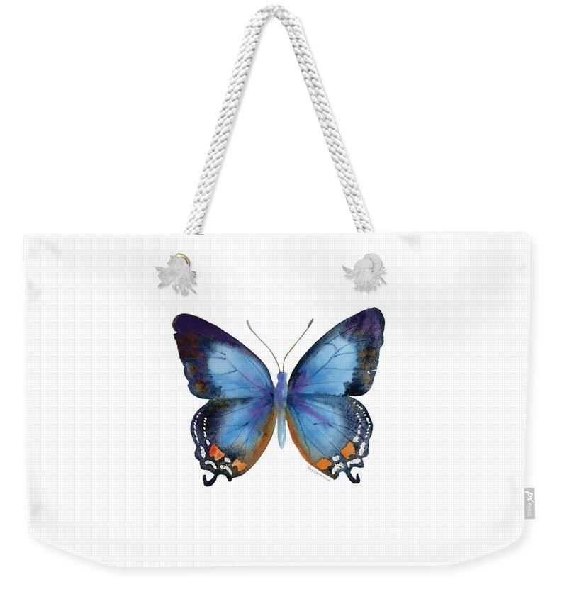 Imperial Blue Butterfly Weekender Tote Bag featuring the painting 80 Imperial Blue Butterfly by Amy Kirkpatrick