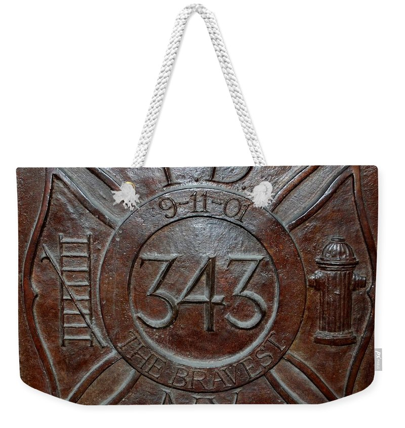 Fdny Weekender Tote Bag featuring the photograph 9 11 01 F D N Y 343 by Rob Hans