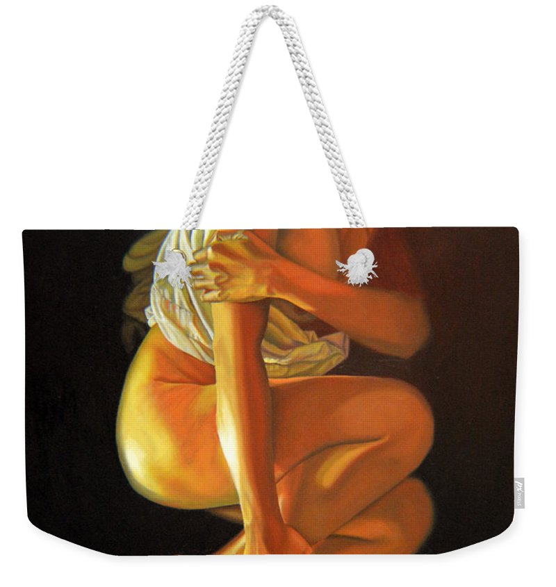 Oil_painting Weekender Tote Bag featuring the painting 9 30 Am by Thu Nguyen