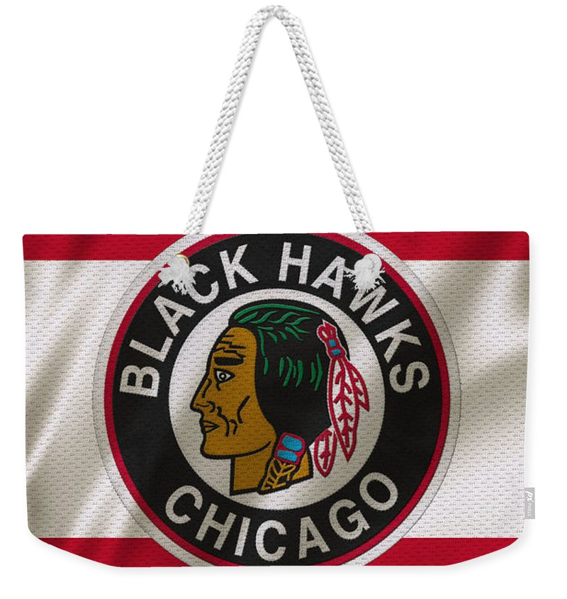 Blackhawks Weekender Tote Bag featuring the photograph Chicago Blackhawks Uniform by Joe Hamilton