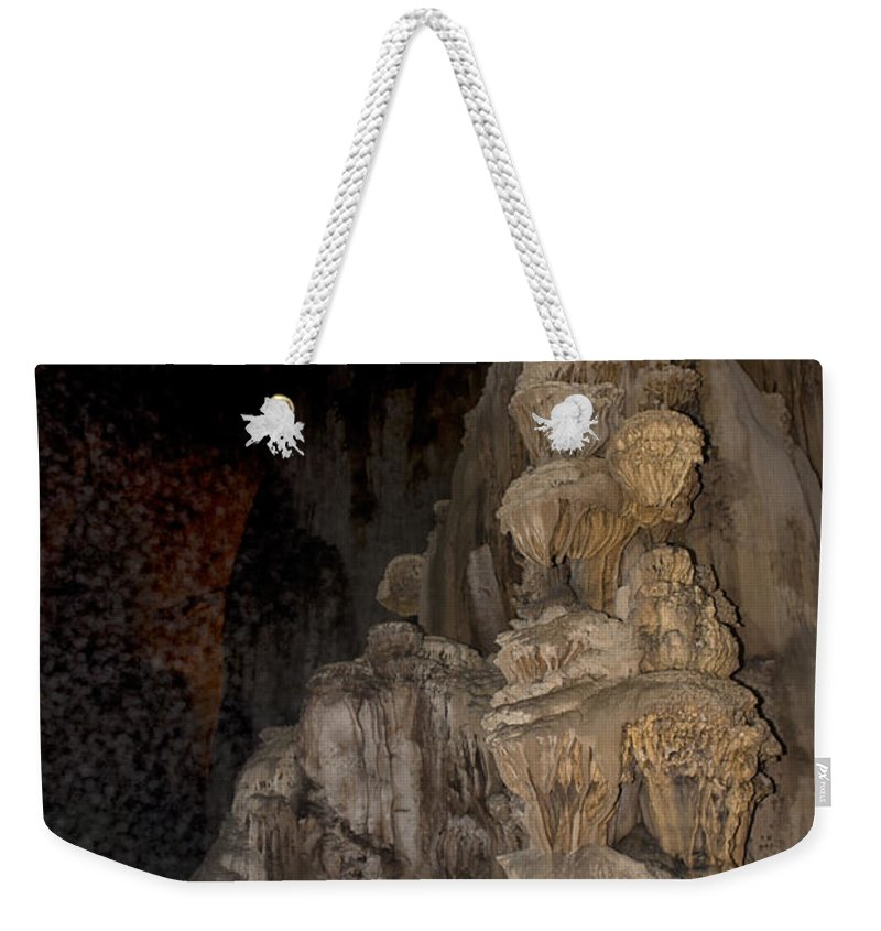 Caverns Weekender Tote Bag featuring the digital art Grutas De Cacahuamilpa by Carol Ailles