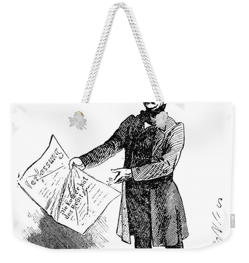 1862 Weekender Tote Bag featuring the drawing Prince Otto Von Bismarck by Granger