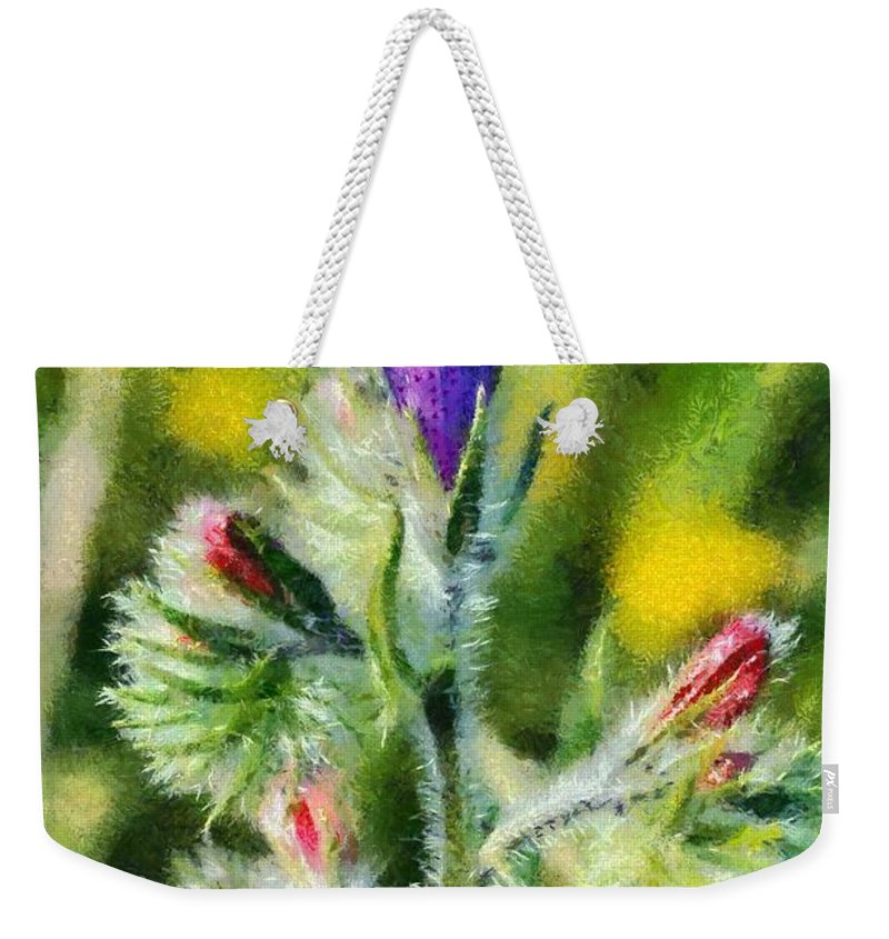 Echium Plantagineum; Blue; Red; Flower; Flowers; Wild; Plant; Spring; Springtime; Season; Nature; Natural; Natural Environment; Natural World; Flora; Bloom; Blooming; Blossom; Blossoming; Color; Colour; Colorful; Colourful; Earth; Environment; Ecological; Ecology; Country; Landscape; Countryside; Scenery; Macro; Close-up; Detail; Details; Greece; Hellas; Greek; Hellenic; Attica; Attika; Attiki; Europe; European; Artistic; Exterior; Outdoor; Outside; Paint; Painting; Paintings Weekender Tote Bag featuring the painting Spring Wild Flower by George Atsametakis