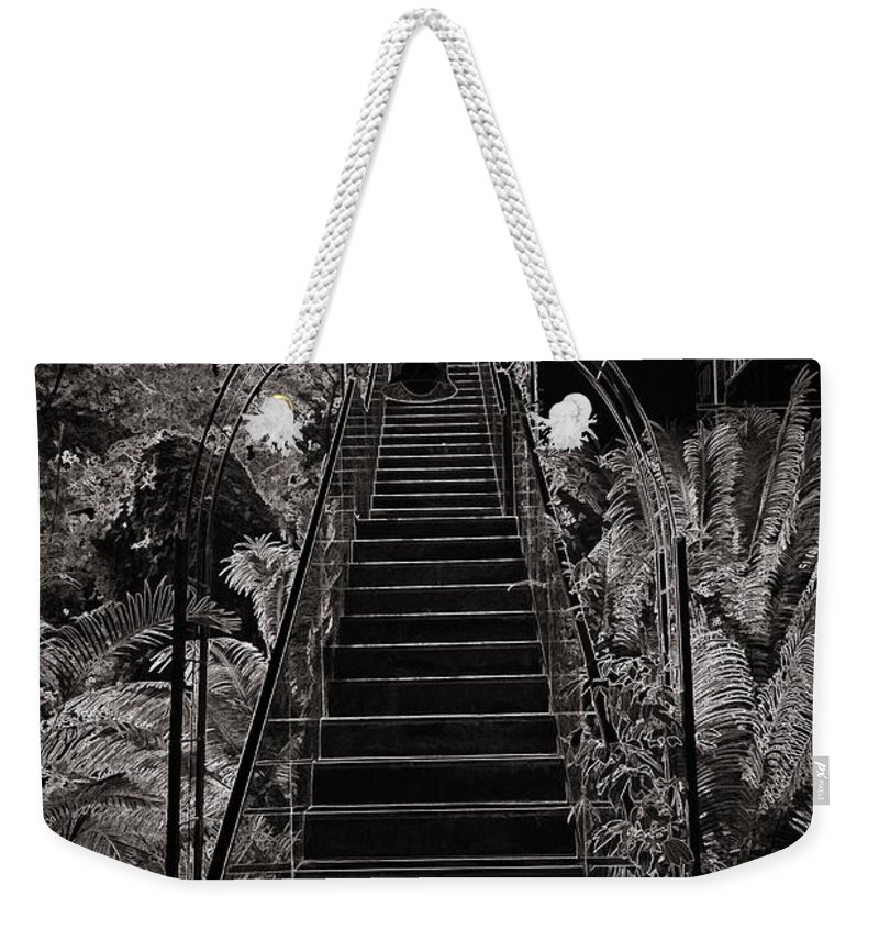 Asia Weekender Tote Bag featuring the photograph Staircase Leading To A Higher Level In Siloso Hotel In Sentosa by Ashish Agarwal