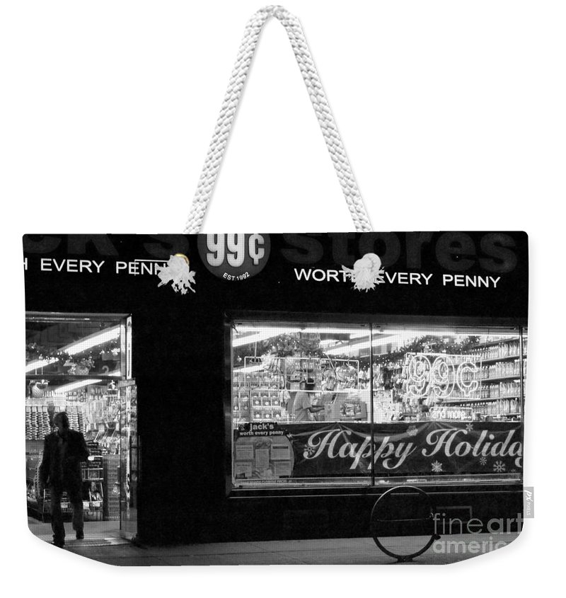 New York Weekender Tote Bag featuring the photograph 99 Cents - Worth Every Penny by Miriam Danar