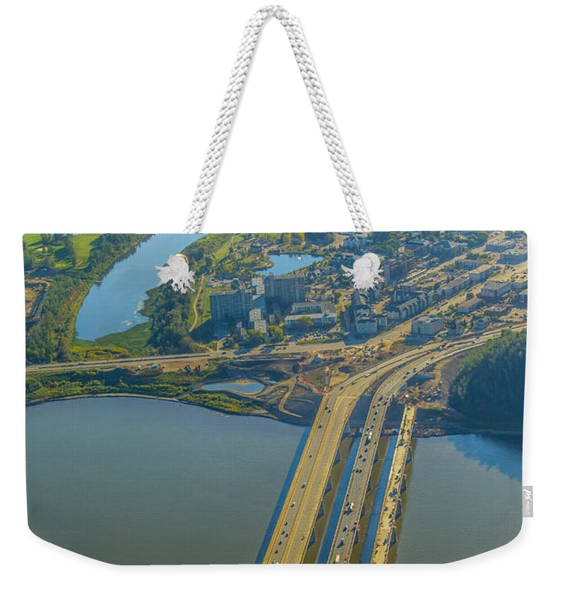 Fort Mcmurray Stock Weekender Tote Bag featuring the photograph Fort Mcmurray From The Sky by Alanna DPhoto