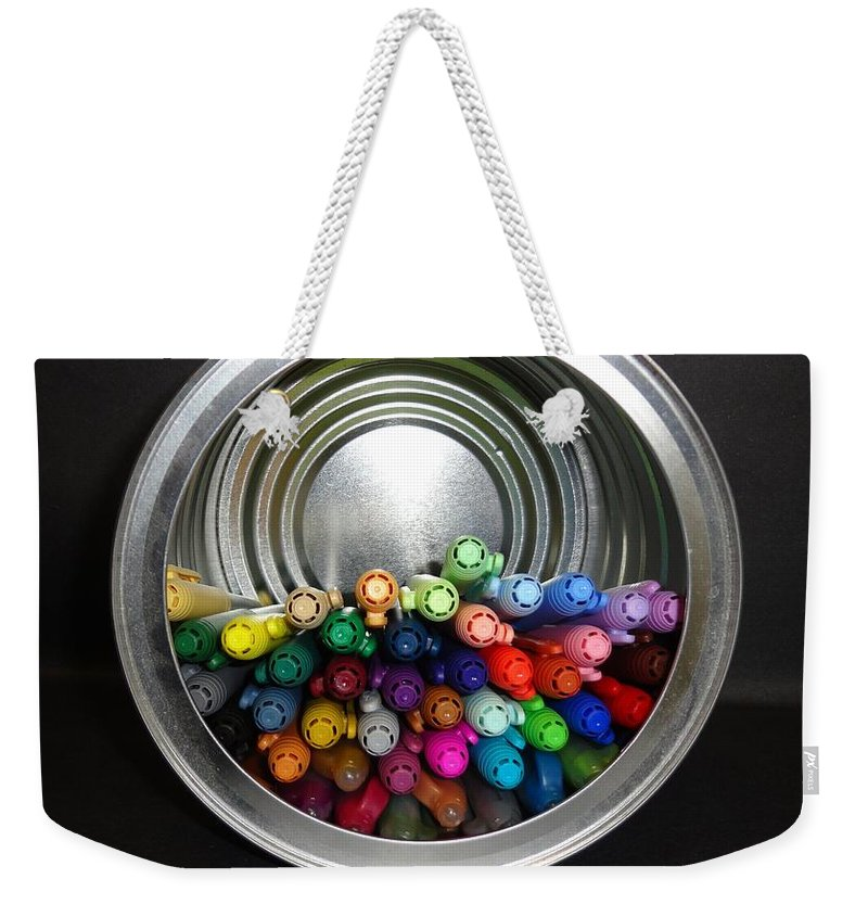 Can Weekender Tote Bag featuring the photograph A Barrel Of Fun by Maria Bonnier-Perez