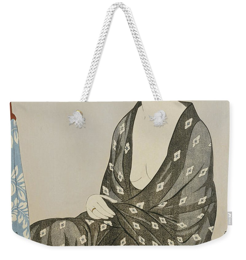 Hashiguchi Weekender Tote Bag featuring the painting A Beauty In A Black Kimono by Hashiguchi