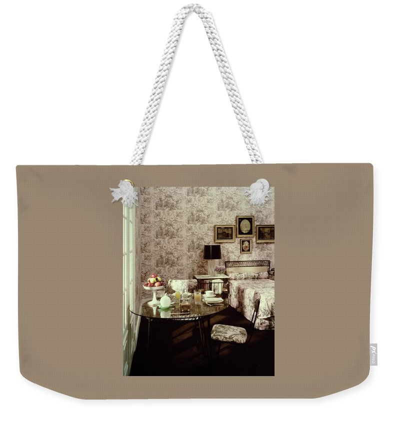 Nobody Weekender Tote Bag featuring the photograph A Bedroom With Matching Wallpaper by Haanel Cassidy