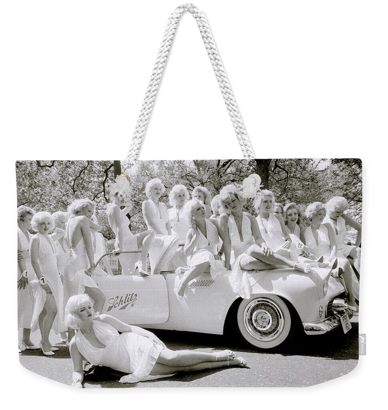 Marilyn Monroe Weekender Tote Bag featuring the photograph Inspirational Marilyn by Shaun Higson