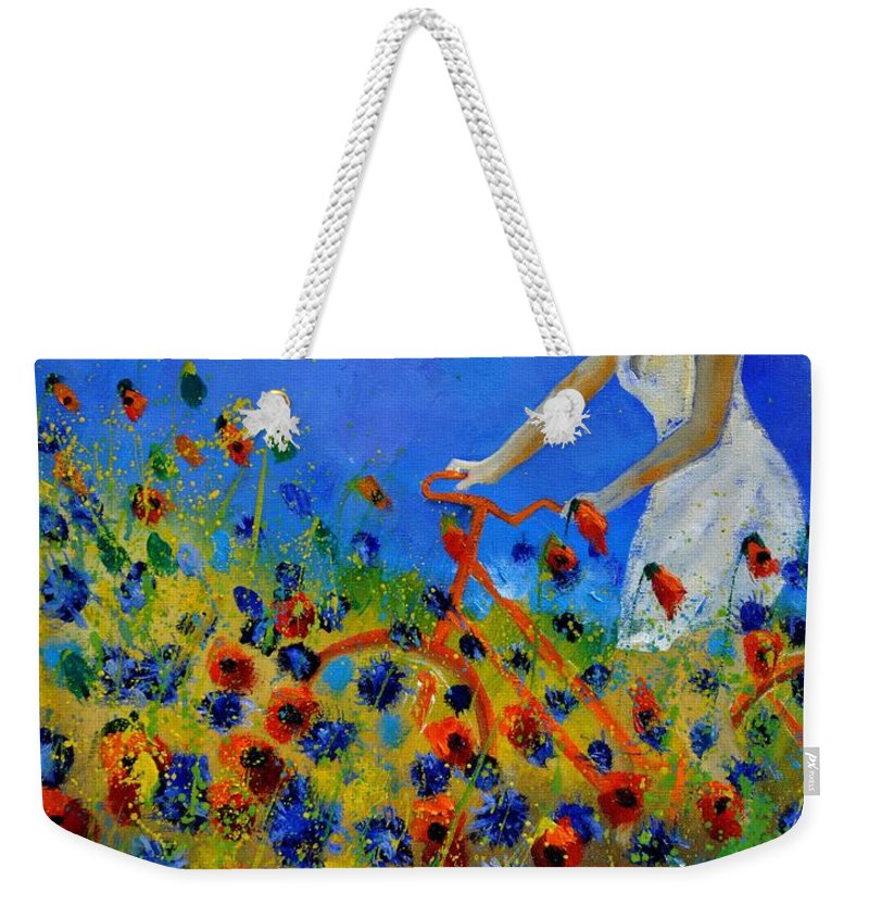 Flowers Weekender Tote Bag featuring the painting A bicycle amid the flowers by Pol Ledent
