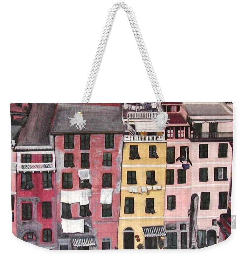 Vernazza Weekender Tote Bag featuring the painting A Bird's Eye View Of Cinque Terre by Quin Sweetman
