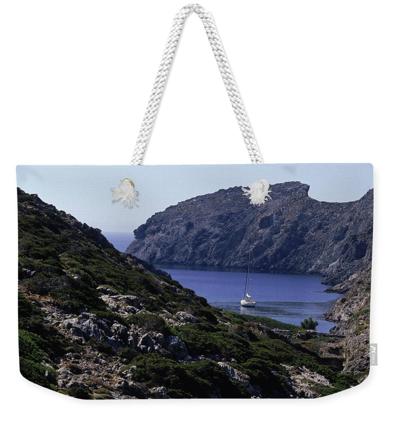Boat Weekender Tote Bag featuring the photograph A Boat Sailing In The Valley by Joanna B. Pinneo