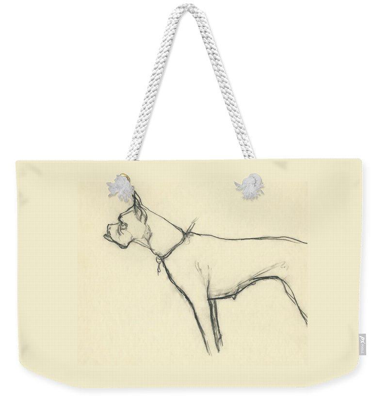 Animal Weekender Tote Bag featuring the digital art A Boxer Dog by Carl Oscar August Erickson