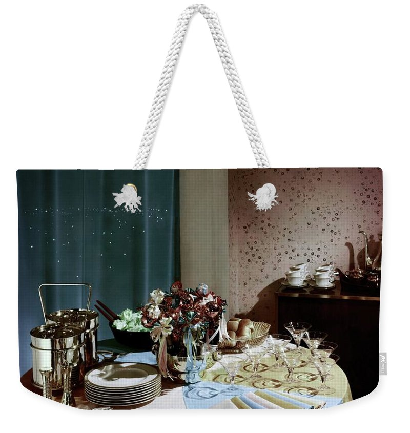 Party Weekender Tote Bag featuring the photograph A Buffet Table At A Party by Wiliam Grigsby