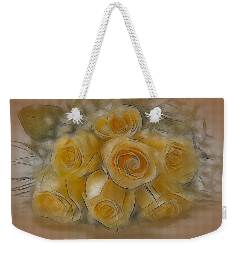 Rose Weekender Tote Bag featuring the photograph A Bunch Of Yellow Roses by Susan Candelario