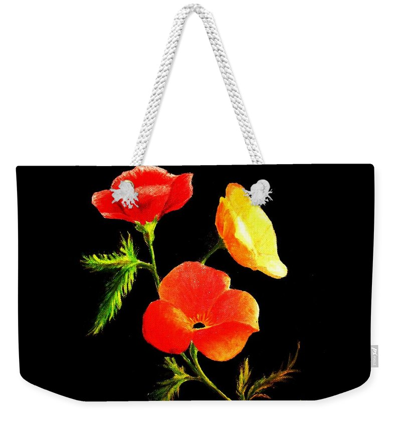 Poppies Weekender Tote Bag featuring the painting A Burst Of Sunshine by Hazel Holland