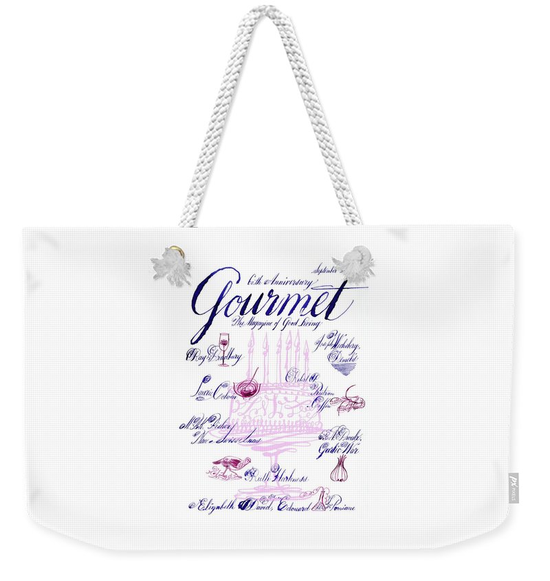 Illustration Weekender Tote Bag featuring the photograph A Calligraphy Illustration Celebrating Sixty by Elvis Swift