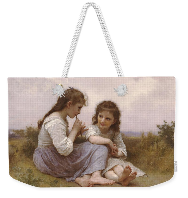 William-adolphe Bouguereau Weekender Tote Bag featuring the painting A Childhood Idyll by William-Adolphe Bouguereau