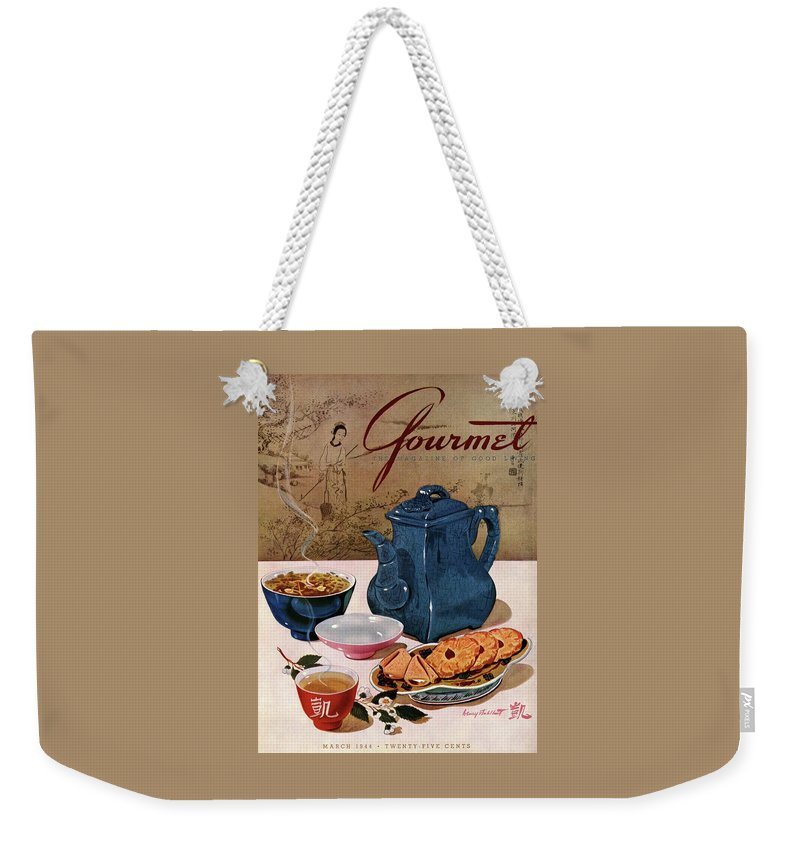 Food Weekender Tote Bag featuring the photograph A Chinese Tea Pot With Tea And Cookies by Henry Stahlhut