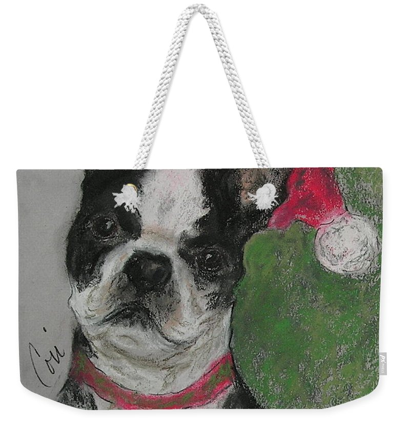 Boston Terrier Weekender Tote Bag featuring the drawing A Christmas Terrier by Cori Solomon