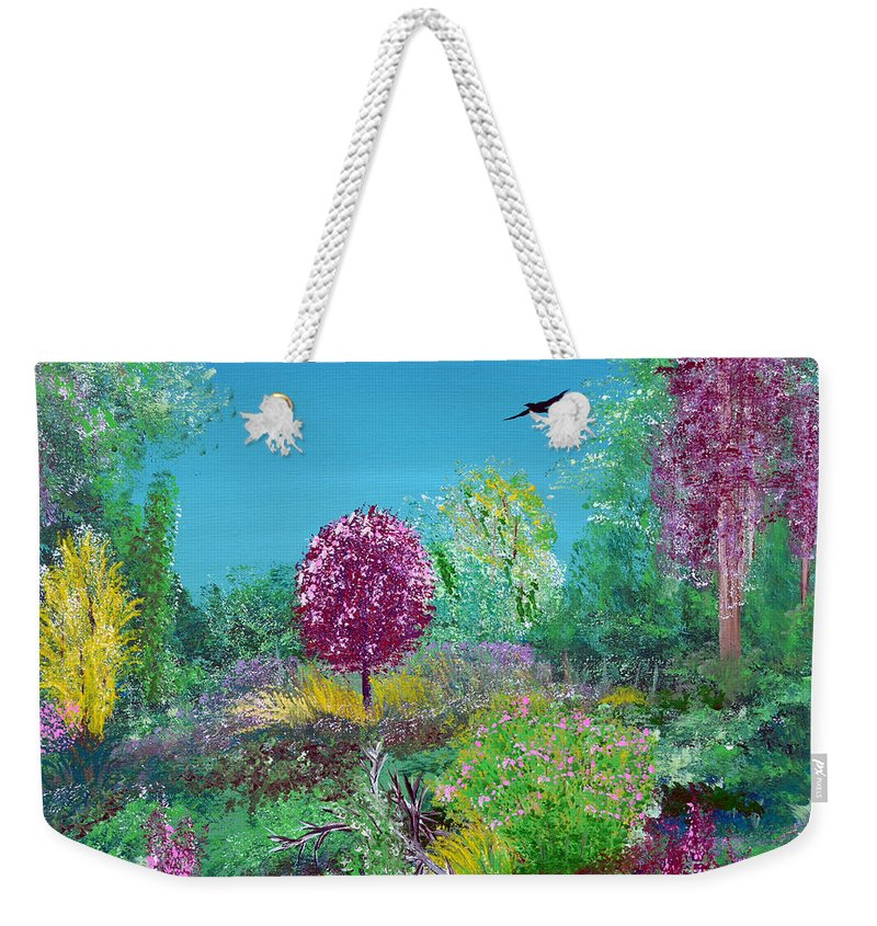 Indiana Weekender Tote Bag featuring the painting A Corner Of Heaven In Rural Indiana by Alys Caviness-Gober
