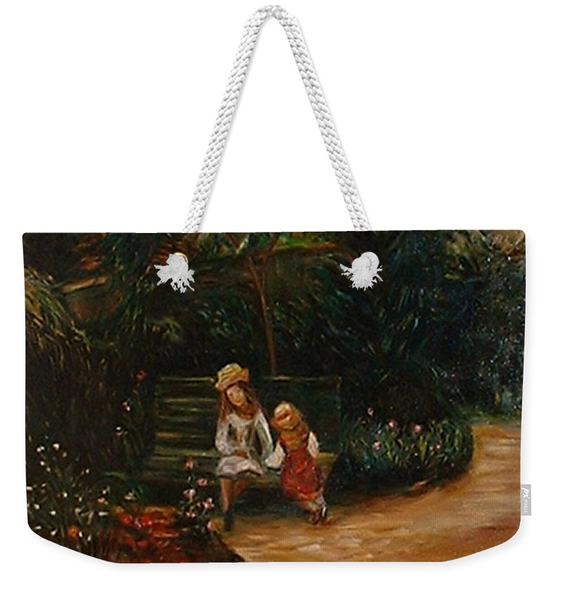 Classic Art Weekender Tote Bag featuring the painting A Corner Of The Garden At The Hermitage by Silvana Abel