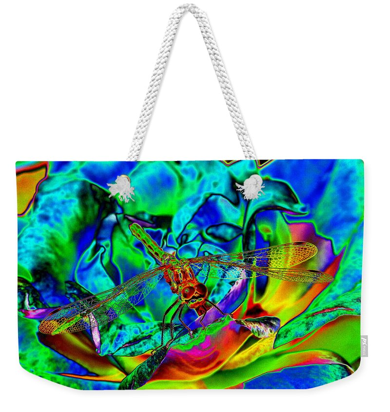 Dragonflies Weekender Tote Bag featuring the photograph A Cosmic Dragonfly On A Psychedelic Rose by Ben Upham III