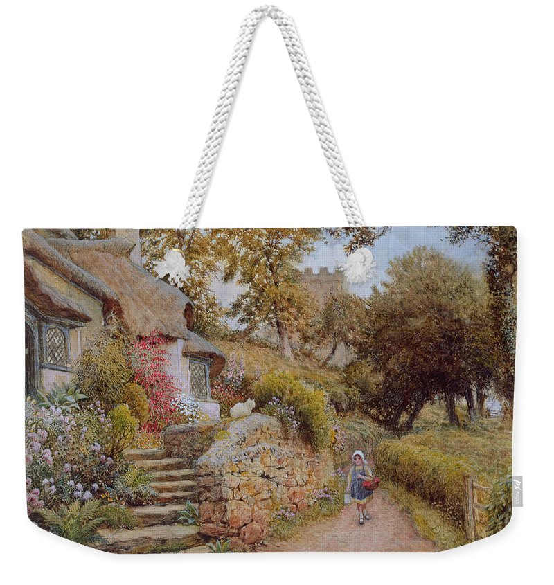 Female; Girl; Basket; Country Lane; Rural; Thatched Cottage; Thatch; Cat; Garden; Countryside; Idyllic Weekender Tote Bag featuring the painting A Country Lane by Arthur Claude Strachan