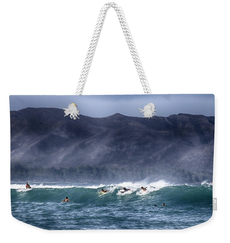 Surfers Weekender Tote Bag featuring the photograph A Day In The Surf V3 by Douglas Barnard
