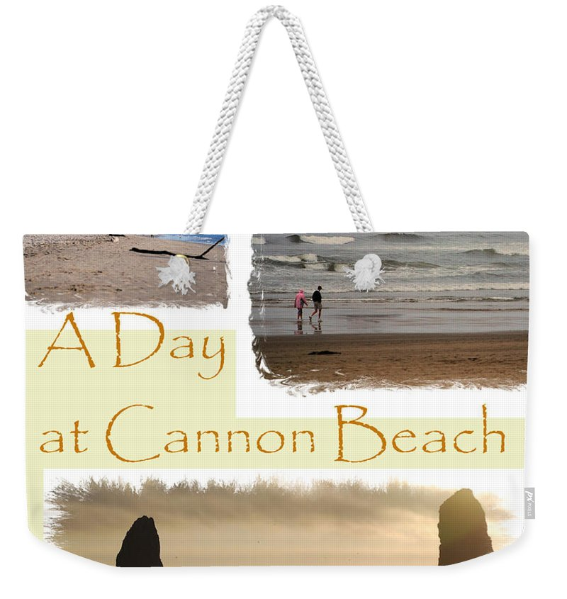 Cannon Beach Weekender Tote Bag featuring the photograph A Day On Cannon Beach by Sharon Elliott