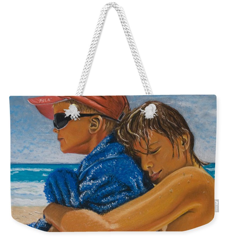 Beach Weekender Tote Bag featuring the pastel A Day On The Beach by Katharina Filus