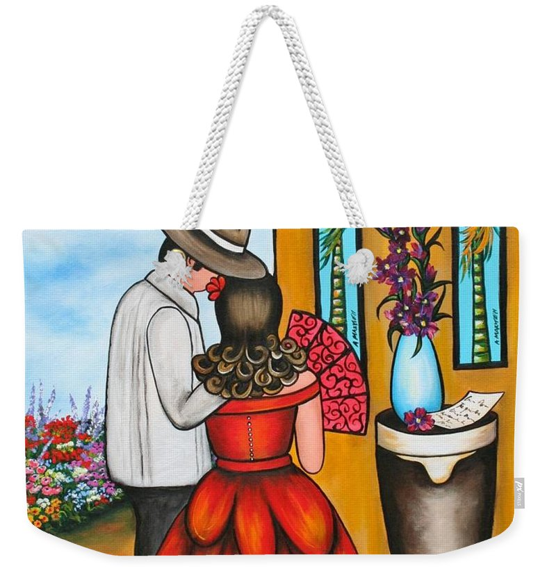 Cuba Weekender Tote Bag featuring the painting A Declaration Of Love by Annie Maxwell