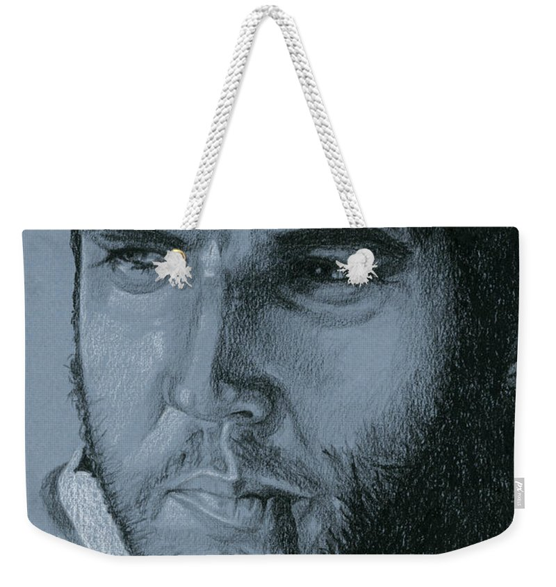 Elvis Weekender Tote Bag featuring the drawing A Different Kind Of Man by Rob De Vries
