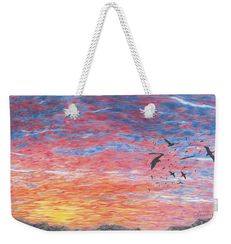 Prehistoric Weekender Tote Bag featuring the drawing A Distant Time by Diana Hrabosky