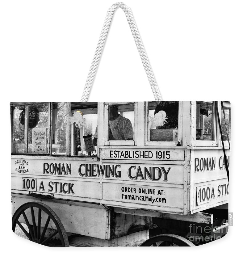 Kathleen K Parker Fine Art Weekender Tote Bag featuring the photograph A Dollar A Stick Roman Chewing Candy In Bw by Kathleen K Parker